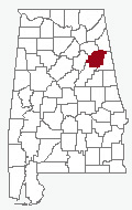 Map of Alabama with Calhoun County highlighted